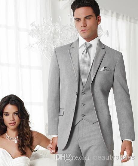 High Quality Gentle Custom Made Grey Groom Tuxedos Groomsmen with ...
