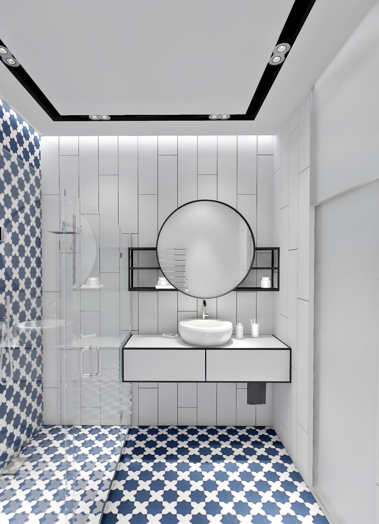 Salle de bain design inspiration grecque. Carrelage bleu et blanc ...