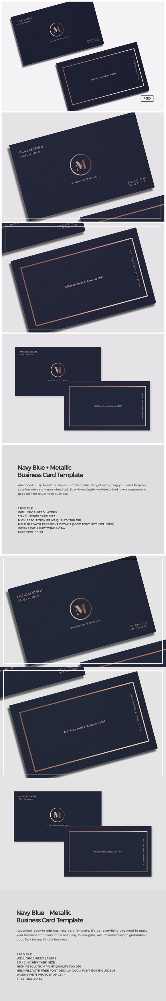 Navy blue metallic business card card templates business cards navy blue metallic business card creative business card templates reheart Image collections