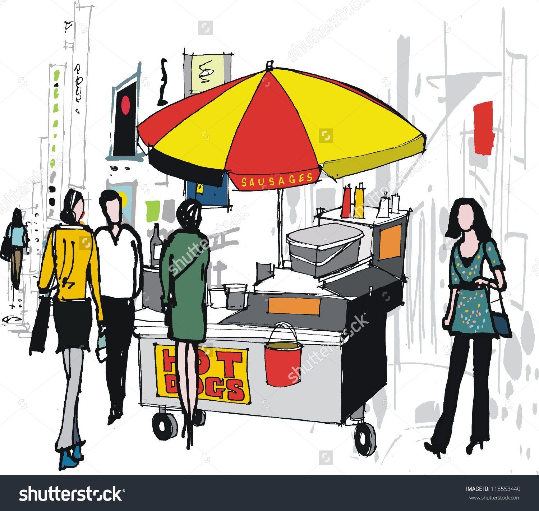 Image Result For Hot Dog Cart Illustration Hot Dog Cart Hot Dog Stand Hot Dogs