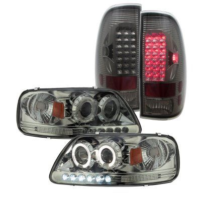 Ford F150 1997 2003 Smoked Projector Headlights And Led Tail Lights Ford F150 Accessories Ford F150 F150