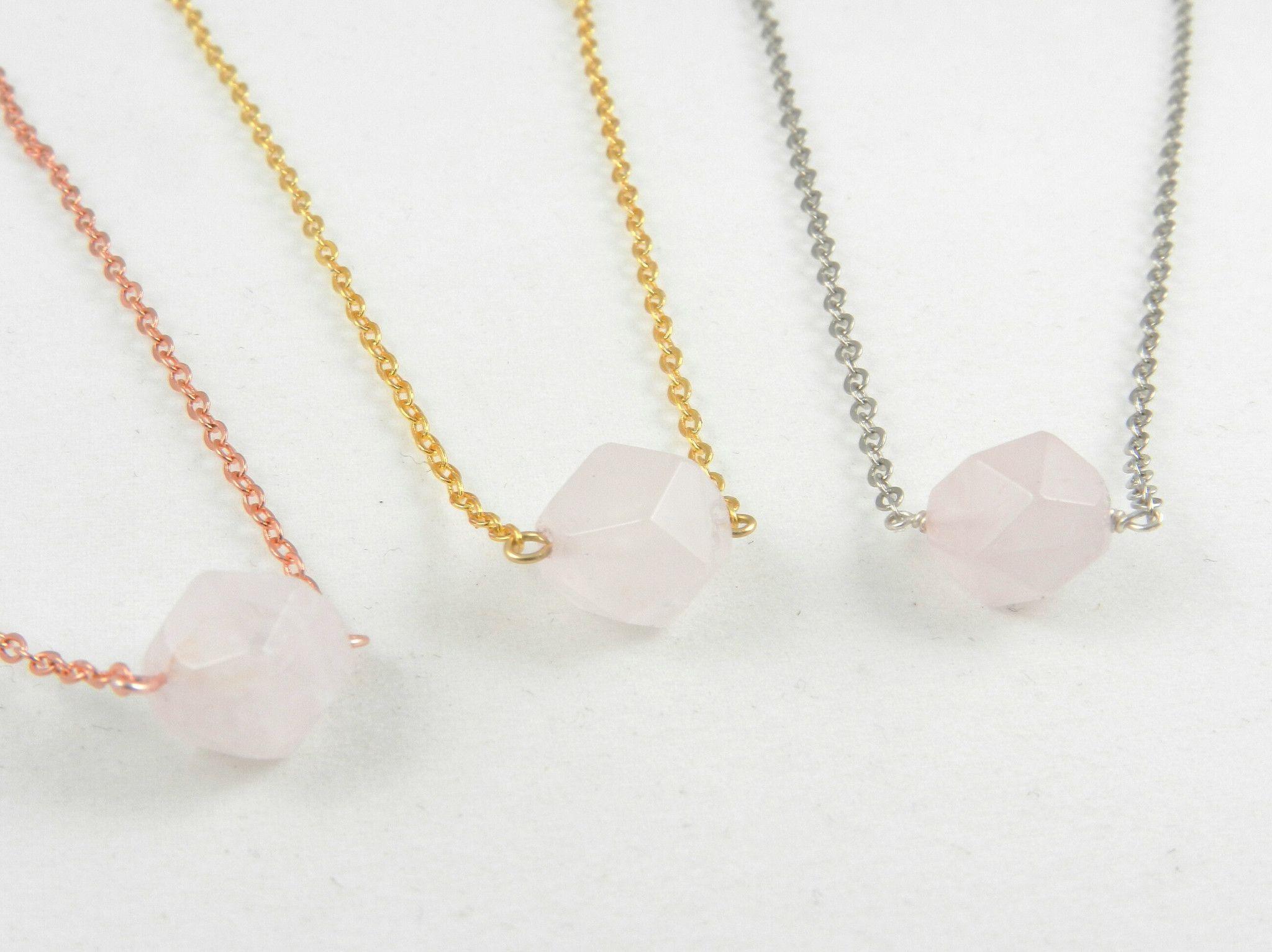Rose Quartz Crystal Nugget Necklace