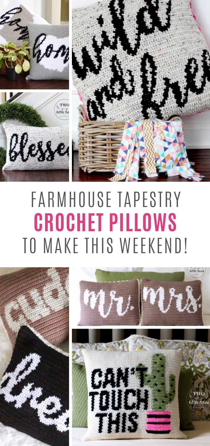 Farmhouse Tapestry Crochet Pillows {that make great gifts!}