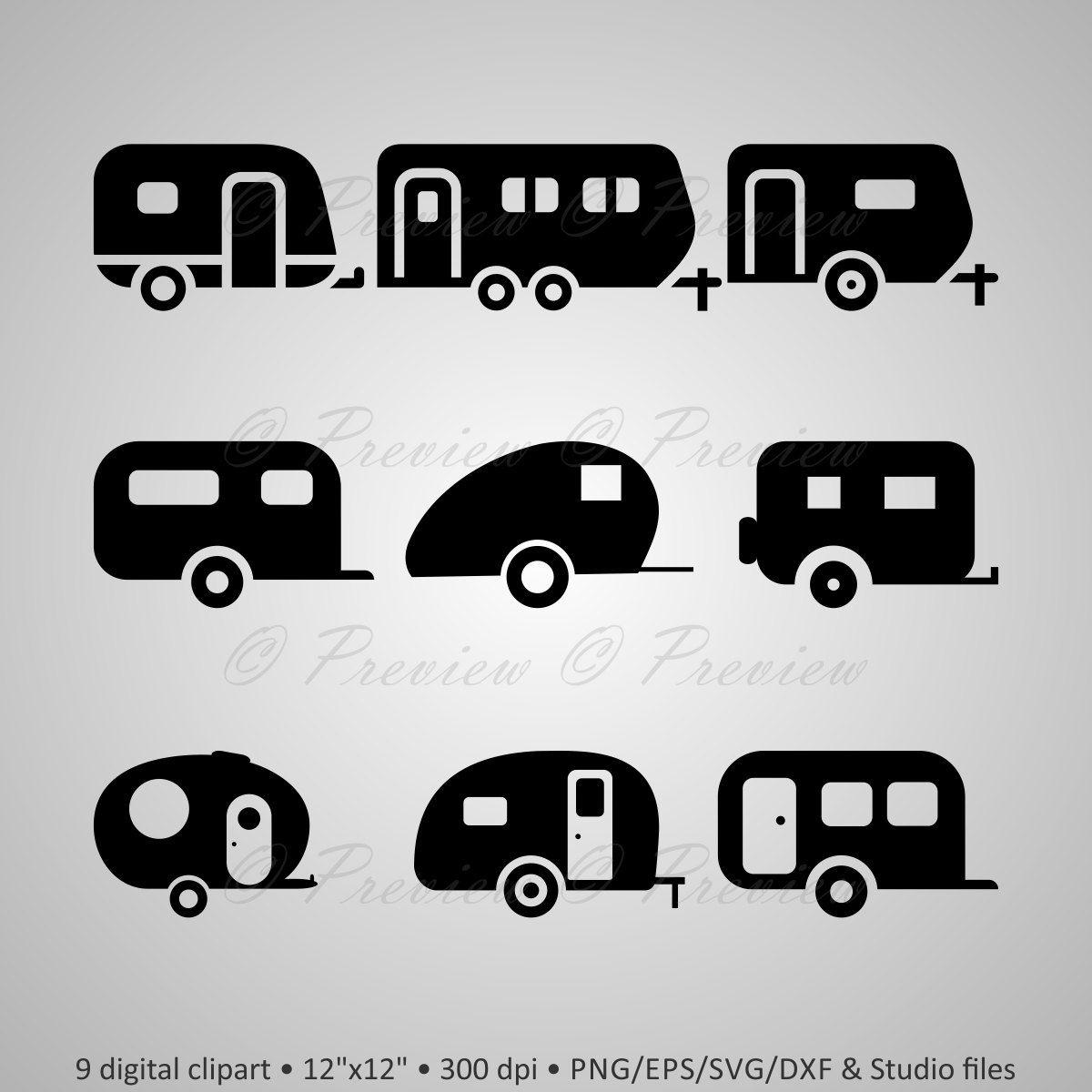 Digital Clipart Camper Silhouettes Summer Travel Trailer Caravan Vinyl Decal Black Images Png Eps Svg Dxf Studio Files