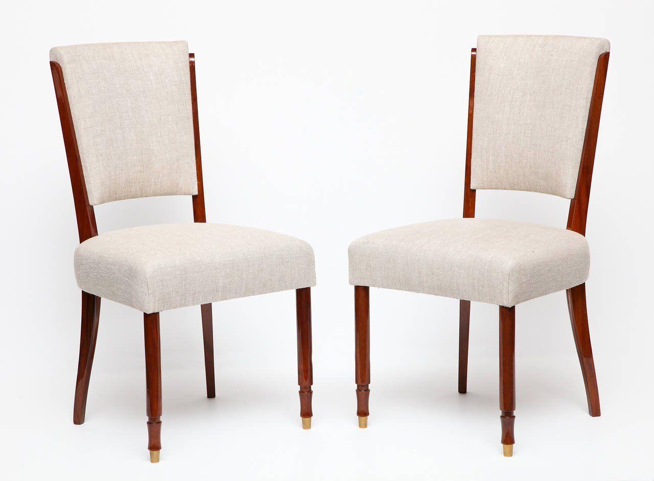 jules leleu set of six dining chairs france c 1957 - Set Of Six Dining Room Chairs