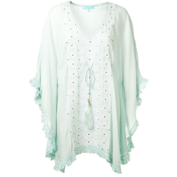 Melissa Odabash Isabelle Mint Kaftan Dress (1.182.725 COP) ❤ liked on Polyvore featuring dresses, embroidered dress, mint green dresses, caftan dresses, kaftan dress and sequin dresses