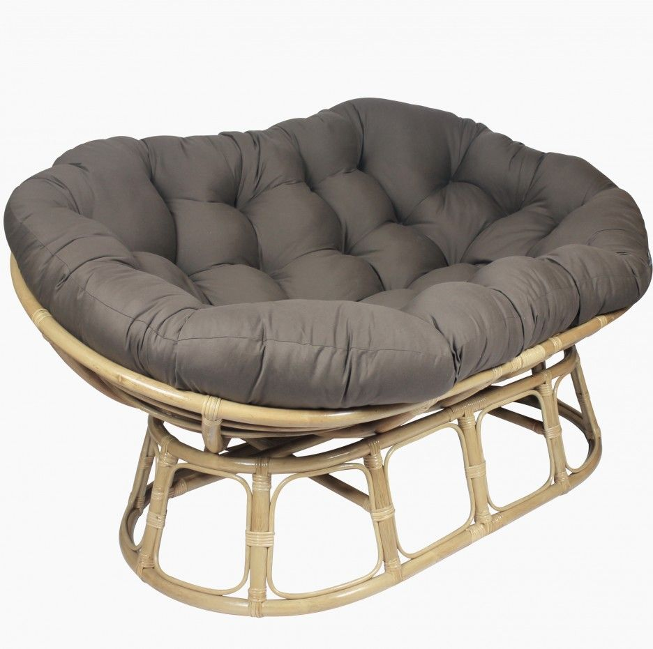 Excellent Rattan Frames Double Papasan Chair Design With Grey