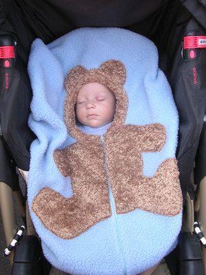 Bear Baby Car Seat Cover On Medium Blue