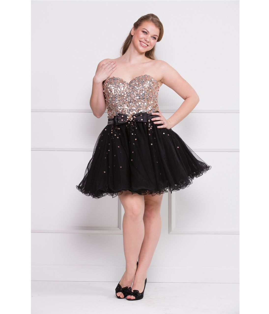 2013 Prom Dresses - Black & Gold Strapless Sequin Short Plus Size ...