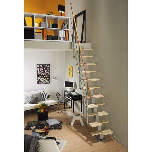 Escalier Droit Esca Deca Marches Bois Structure Metal Gris Idees Escalier Decoration Maison Escalier