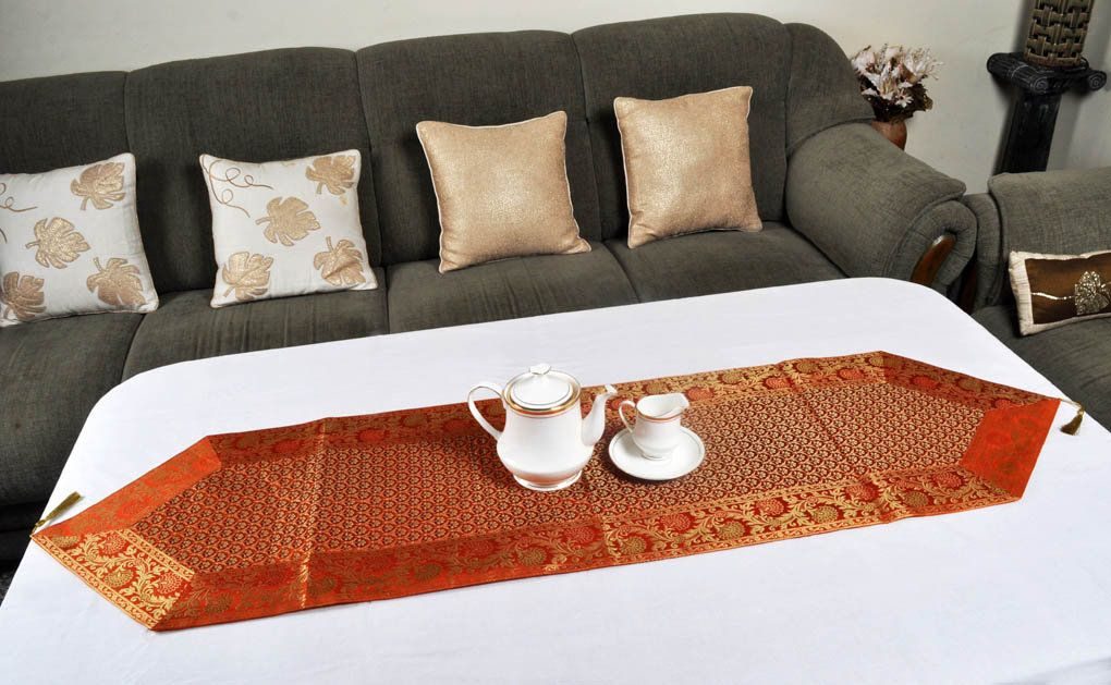Table Runner Rustic Home Decor Silk Table Runner Wedding Table Etsy Dining Table Decor Venue Decor Orange Table #table #cover #for #living #room