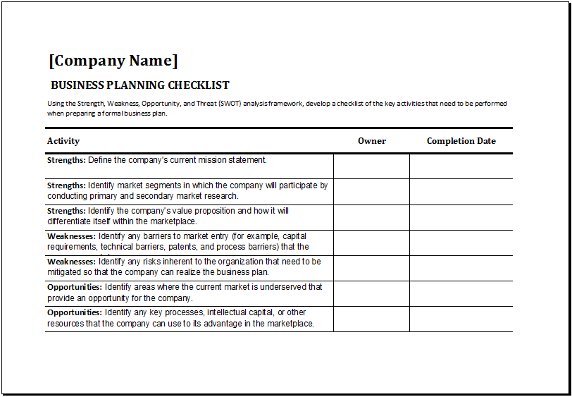 Business Planning Checklist Template At Httpxltemplates