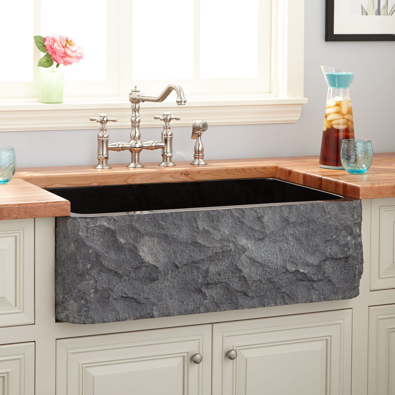 "33"" Polished Granite Farmhouse Sink - Chiseled Apron - Black"