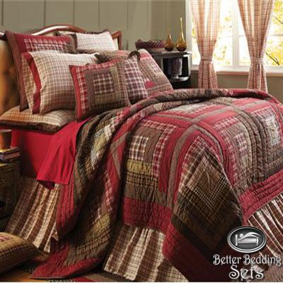 Red Rustic Country Log Cabin Twin Queen Cal King Oversized