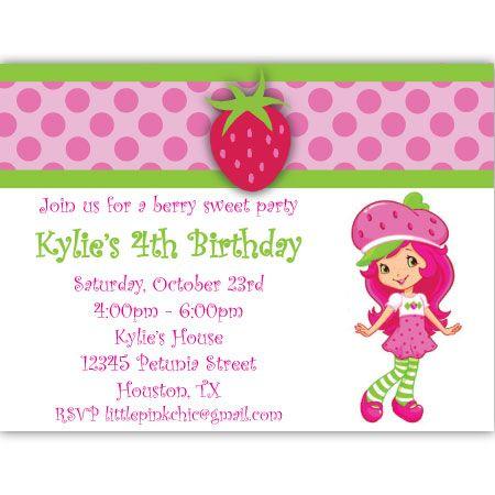Strawberry Shortcake Birthday Invitation – Strawberry Shortcake Birthday Cards