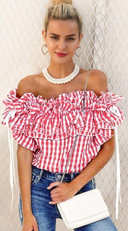 781e190508658 Women s Cute Pink Checkered Ruffle Off Shoulder Blouse