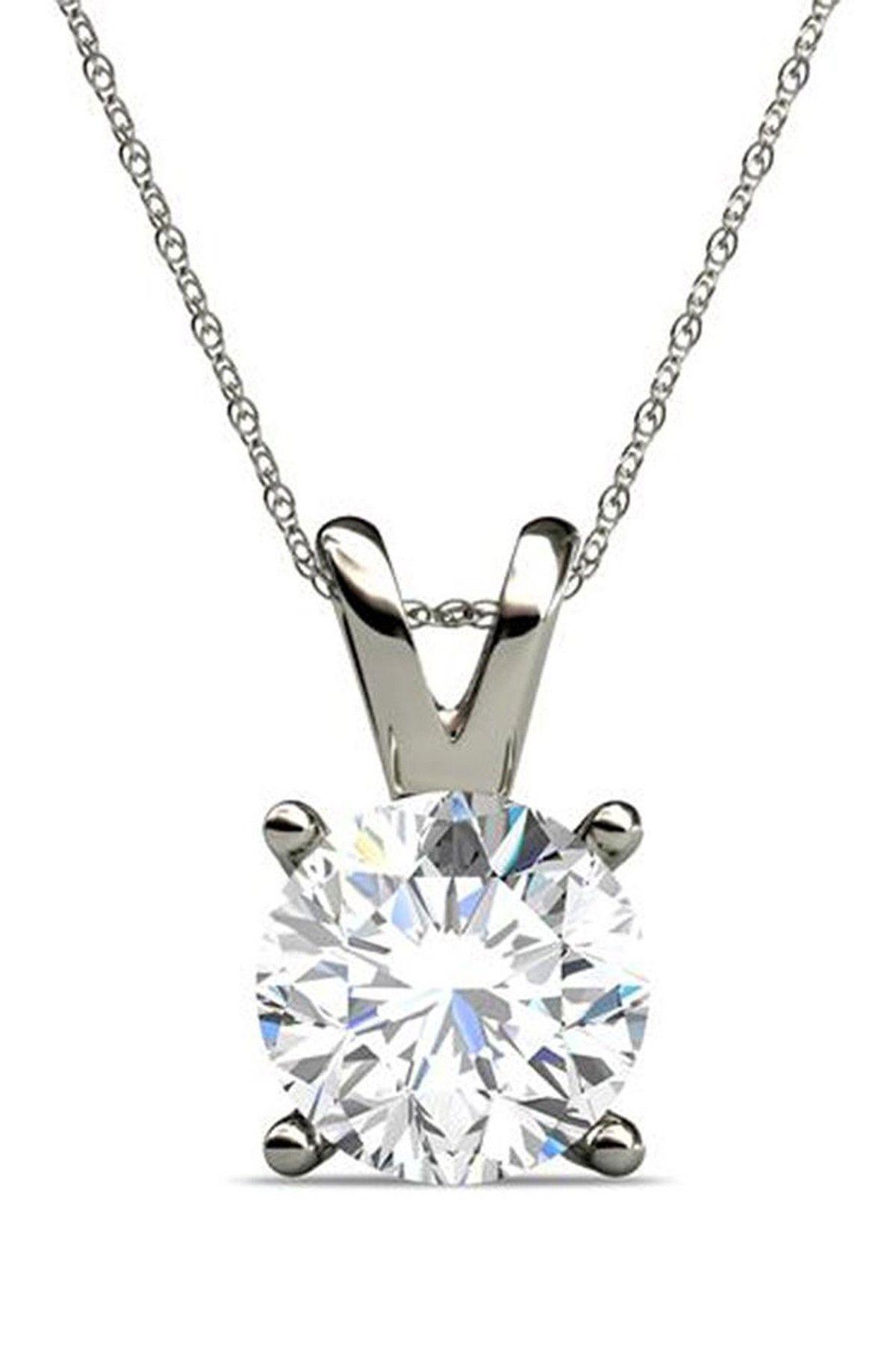 Elani jewelry k white gold diamond solitaire pendant necklace