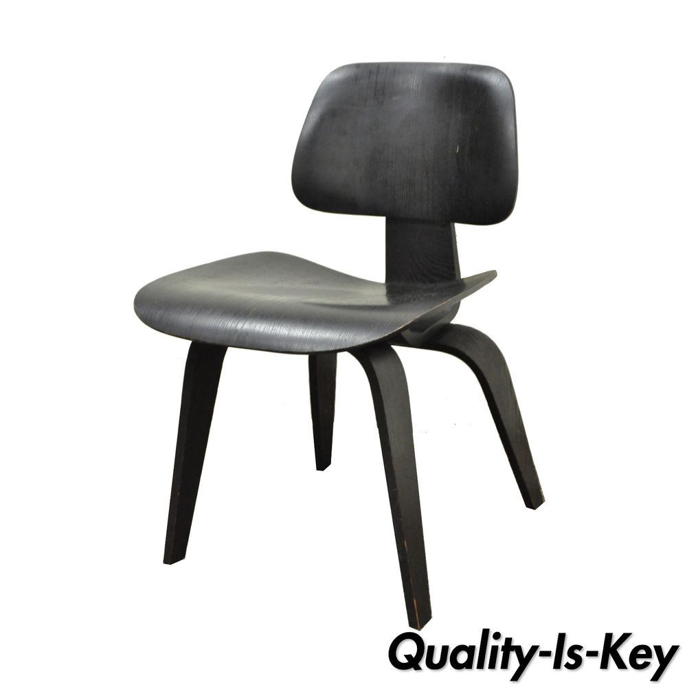 Vintage Mid Century Modern Eames DCW Herman Miller Style Black Plywood Chair  A #MidCenturyModern