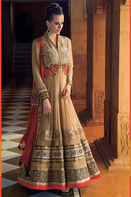 Look glamorous in functions and parties with this Chikoo Soft Net embroidered party wear semi-stitched Anarkali Salwar Suit. Featuring fancy patch work, the suit will add more charm to the look of the wearer. The suit comes with matching unstitched Santoon bottom and Chiffon dupatta. The suit can be custom tailored for upto bust size of 42 inches.