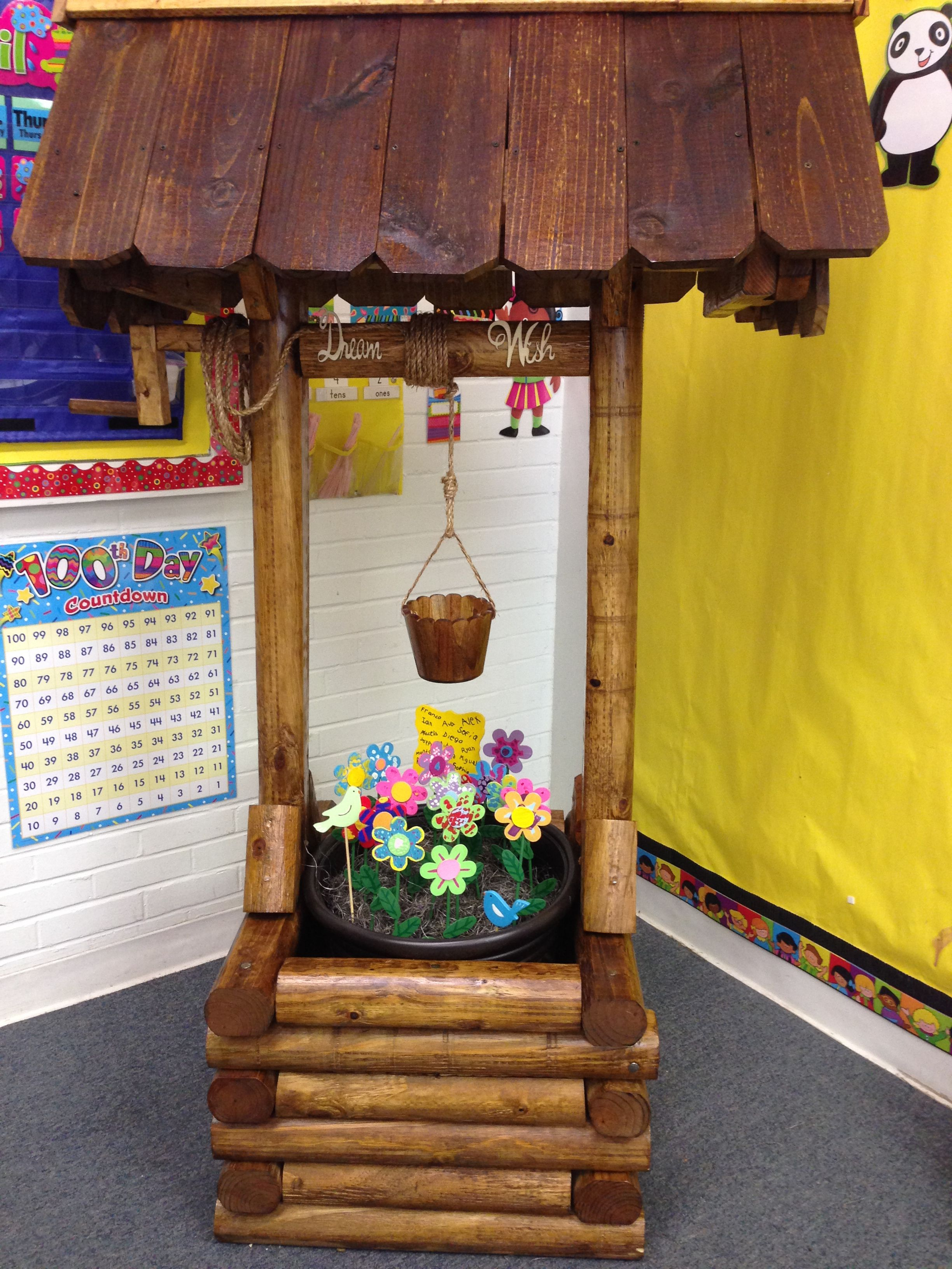 a wooden wishing well planter for a backyard or front yard decor