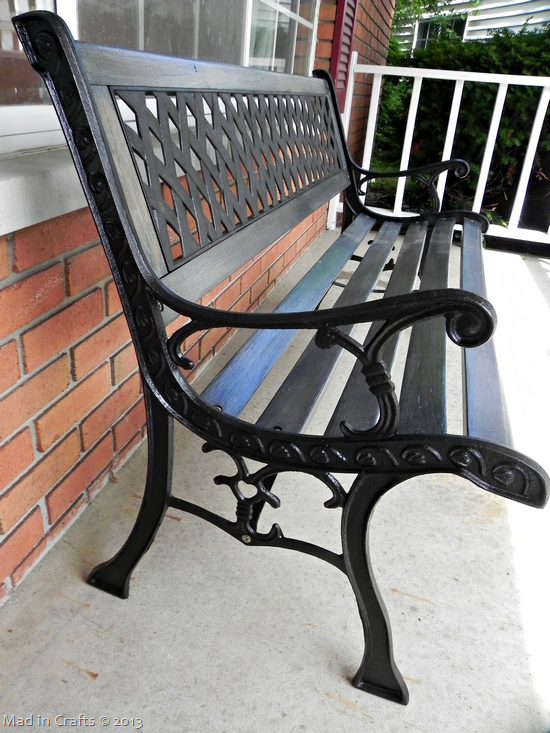 Restoring An Outdoor Bench With Colored Stain Wrought Iron Bench
