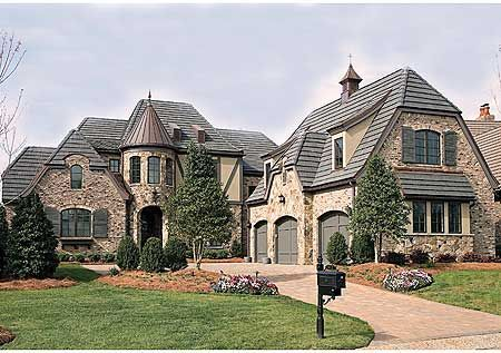 Dream home, French chateau, I really like the garage with bonus area and the screened lanai with terrace above.