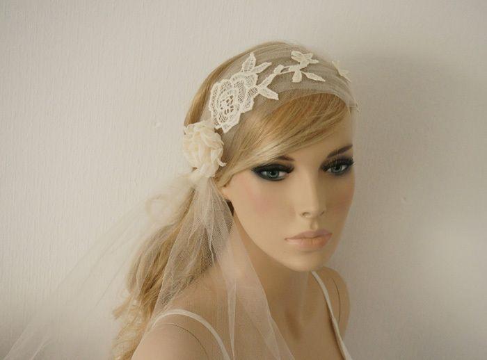 Braut haarband frisur  Braut Schleier Haarband