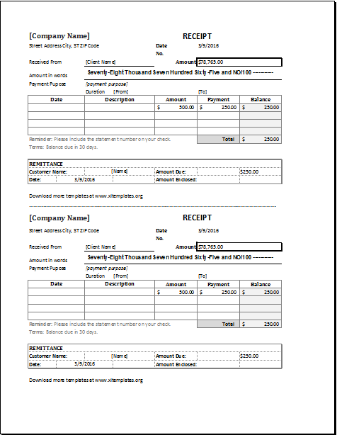 Cash Receipt Template Pdf Fascinating Cash Receipt 2 Per Page Download At Httpwww.xltemplatescash .
