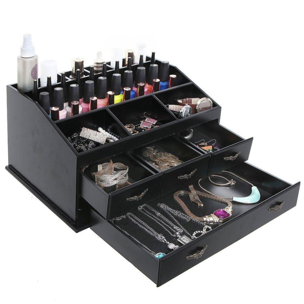 Jewelry Organizer Wooden Makeup 4 Drawer Display Necklace Storage