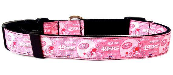 NFL San Francisco 49ers Dog Collar Pink by HomeComfortsAndMoore