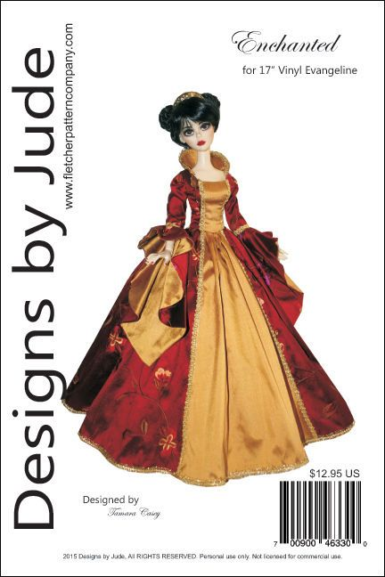Details About Enchanted Doll Clothes Sewing Pattern For 17 Vinyl Evangeline Ghastly Tonner Clothes Sewing Patterns Gown Pattern Doll Clothes