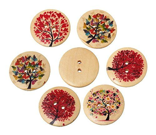 100 Pcs Wooden Buttons 2 Holes Tree Sights Pattern Natural in Bulk Buttons for Crafts Button Sewing and Scrapbook DIY ** Visit the image link more details.