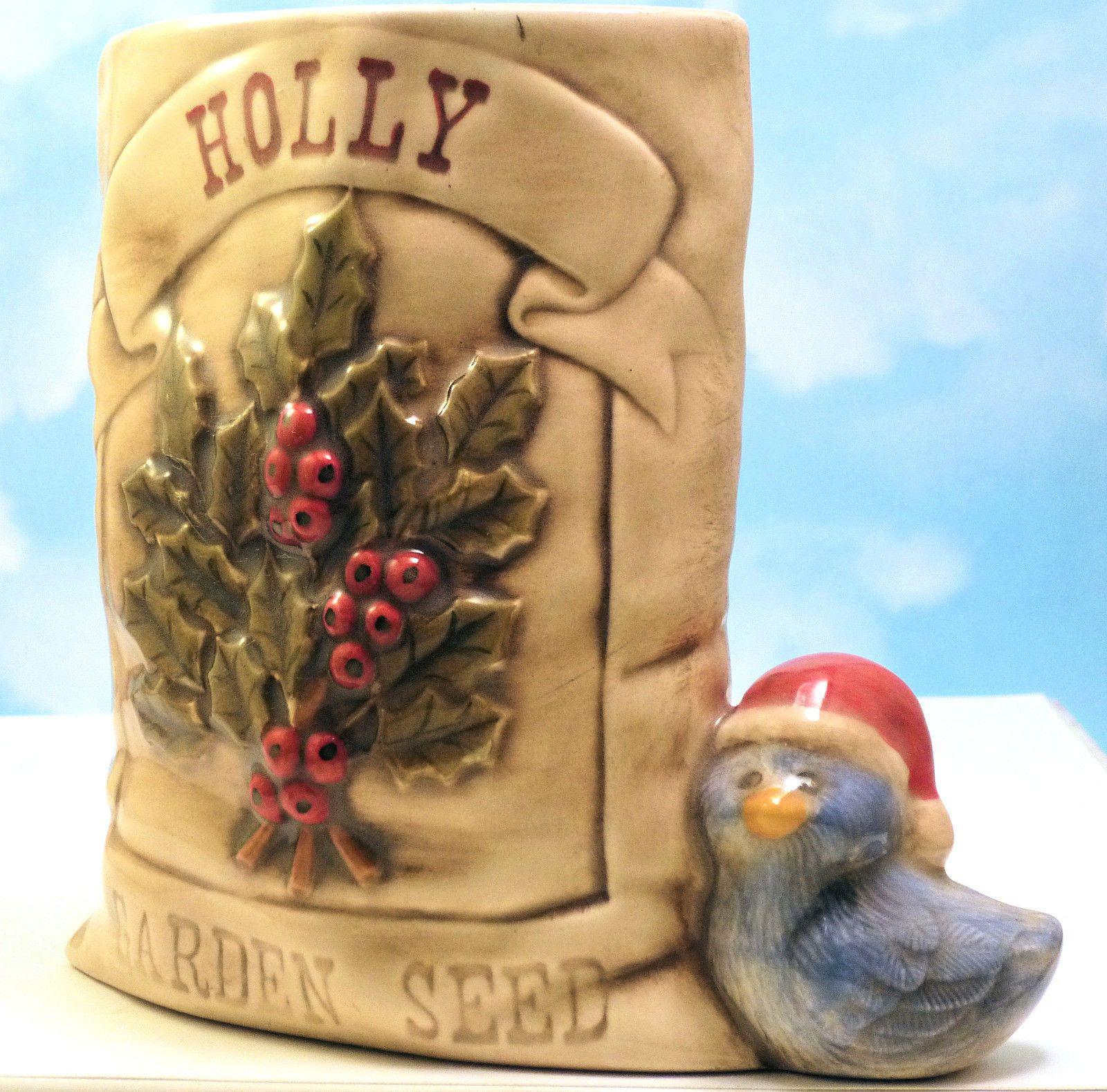 Little Santa Bird Holly Garden Seed Bag Vase Signed Christmas Hand Crafted | eBay