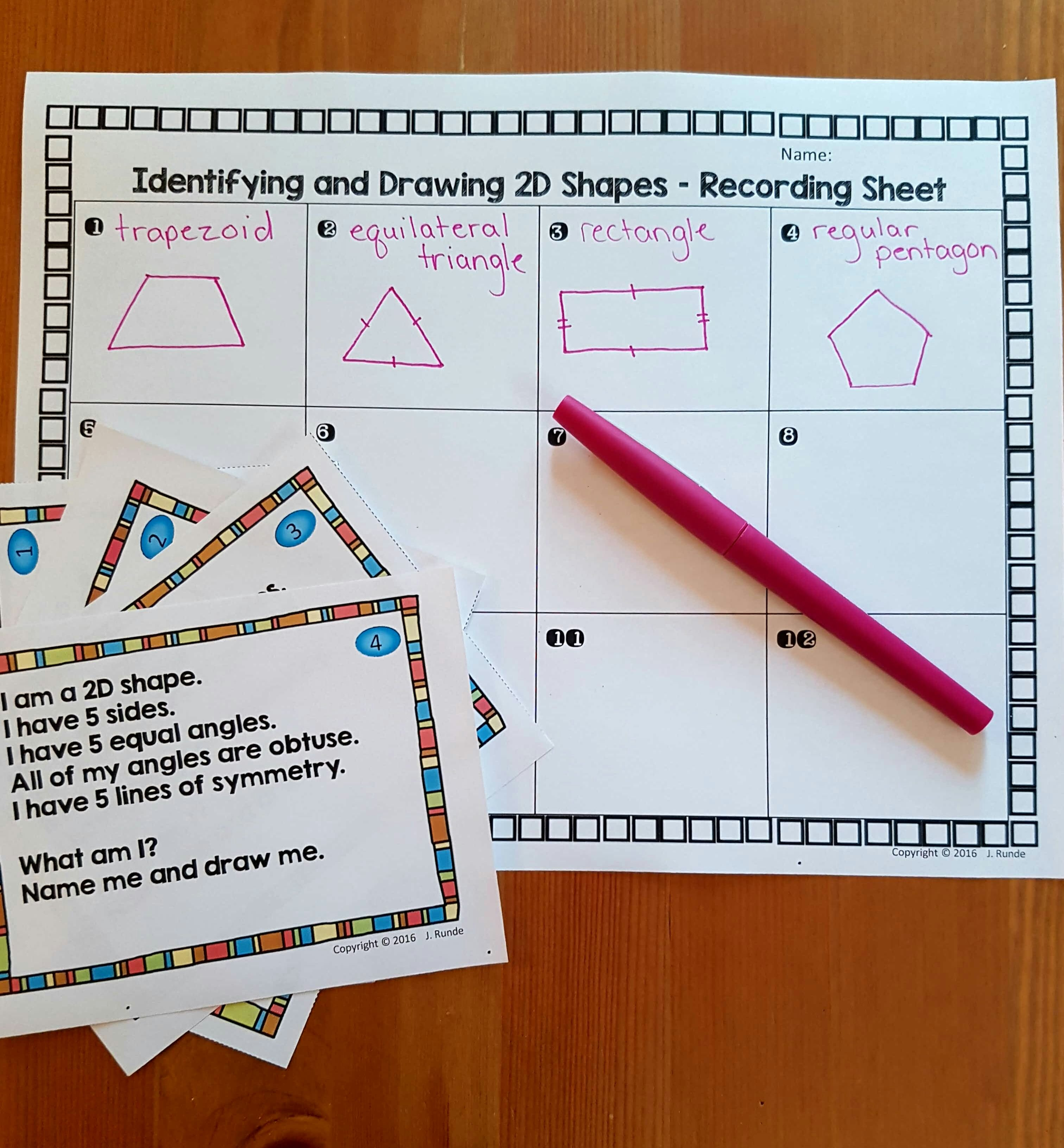 2d Shape Task Cards Students Identify And Draw Shape From The Clues Given About The Properties Perfect Math Statio Task Cards Teaching Math Elementary Math [ 3265 x 3024 Pixel ]