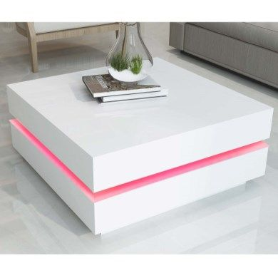Tiffany White High Gloss Cubic Led Coffee Table White Gloss Coffee Table Coffee Table White Coffee Table
