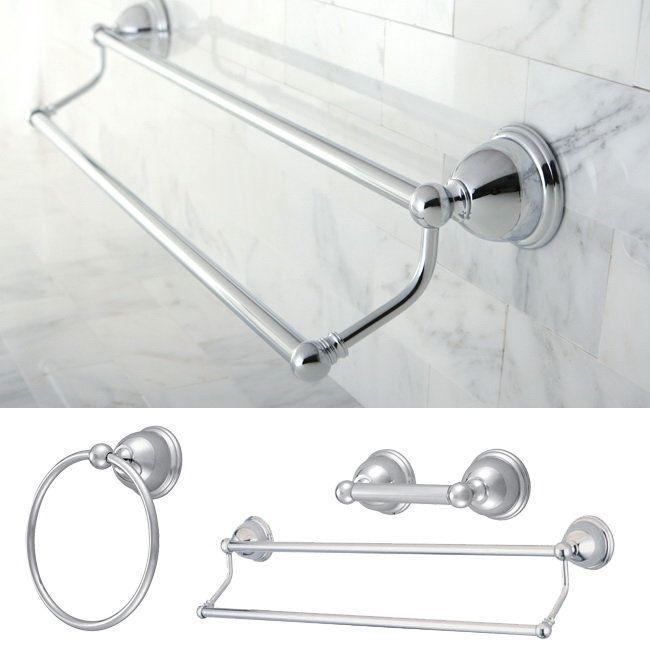 Polished Chrome Wall Mount Bathroom Accessories Set Hardware Towel