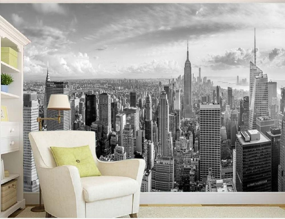 Cheap Tv Background Wallpaper Buy Quality Background Wallpaper Directly From China Mural Wallpape New York City Buildings City Buildings Building Construction