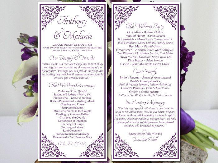 printable wedding program template eggplant wedding program