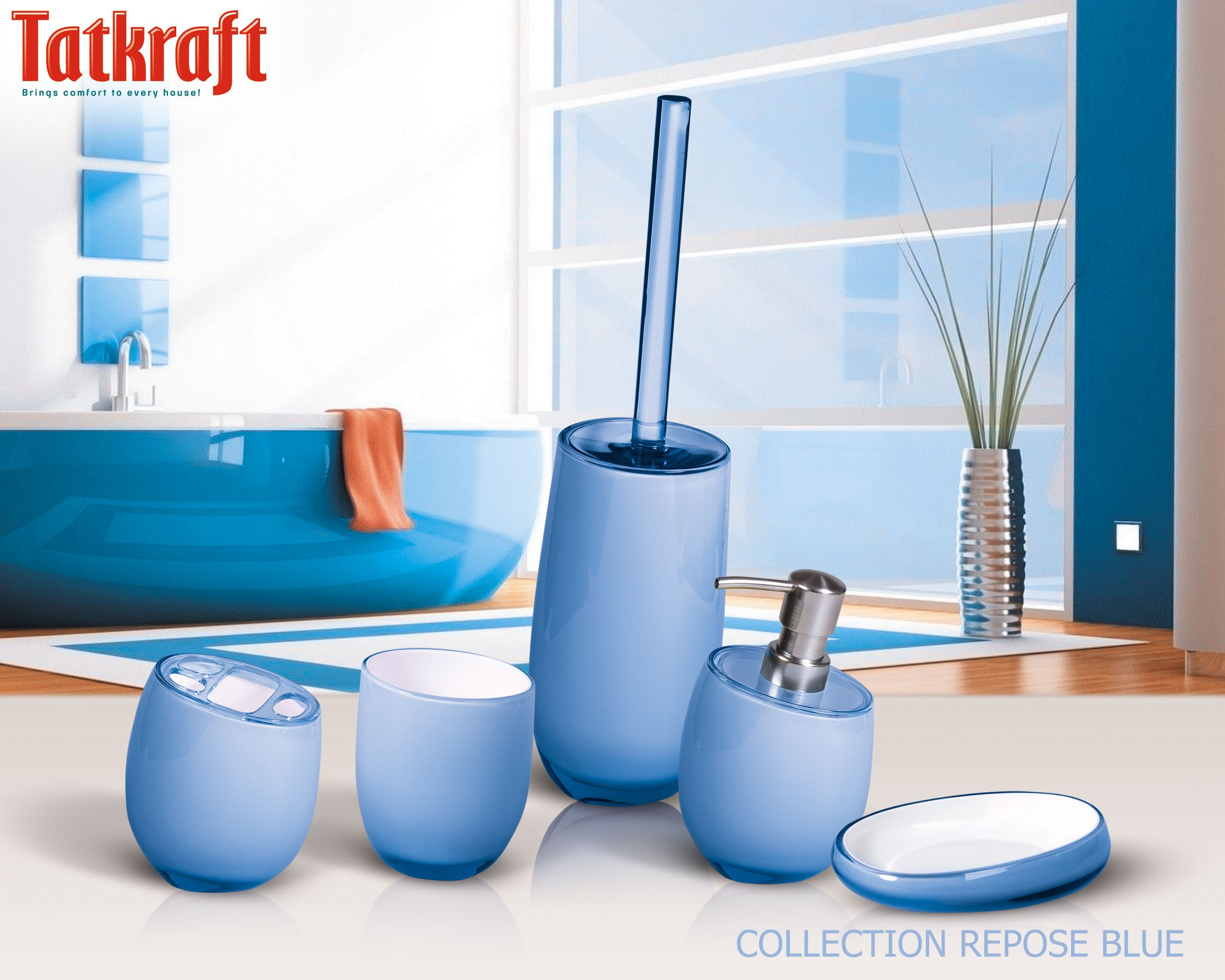 Collection repose blue from tatkraft amazon uk acrylic for Bathroom accessories acrylic