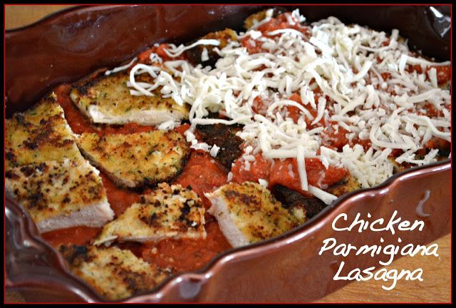 CHICKEN PARMIGIANA LASAGNA   **SAUCE: *Boil 1 box lasagna noodles, set aside. *Bread chicken cutlets in egg, then bread crumbs, fry in olive oil.  Set aside to cool. *Layer lasagna *sauce, noodles, shredded mozzarella cheese,  noodles, sauce, chicken, sauce, shredded mozzarella cheese, noodles, sauce, shredded mozzarella cheese. Cover, bake 375--15 mins.  Uncover, bake add'l 25 mins til browned&bubbly!