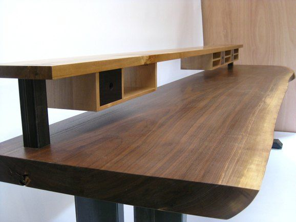 Walnut Slab Desk With Shelving And Drawers By Greenwood At