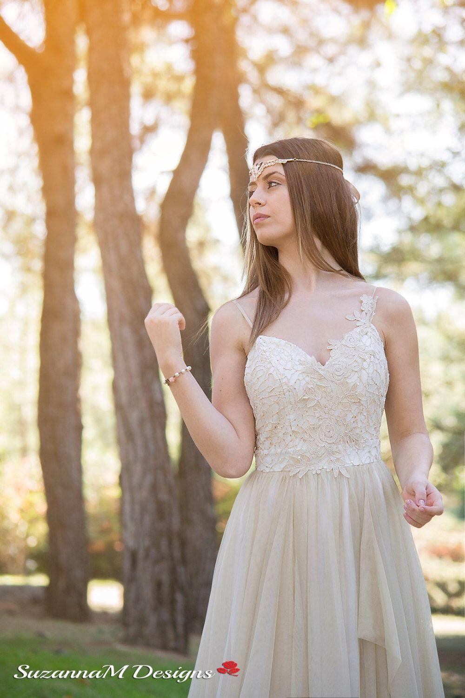 Cream Wedding Dress, SuzannaM, Long Wedding Gown, Fairy Wedding Gown ...
