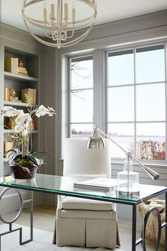 home office design woman trestle desk glass top Google Search