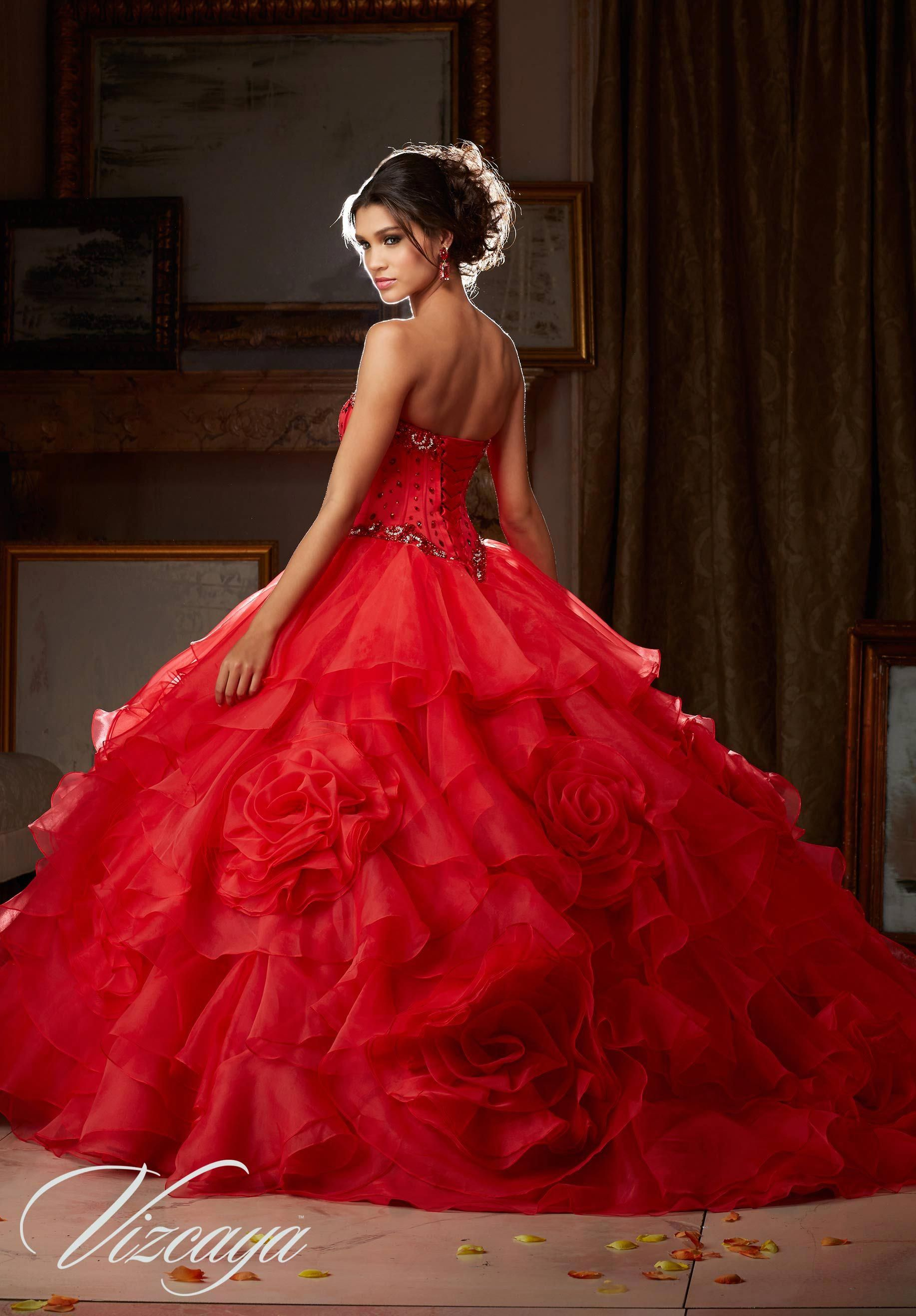 63d1e40c2 Quinceanera Dresses by Morilee designed by Madeline Gardner. Organza  Quinceañera Dress with Corset Style Beaded Satin Bodice.   prettyquinceaneradresses