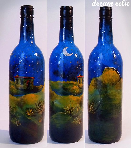 Painted wine bottle desert night nature scenery with moon for What kind of paint to use for wine bottles