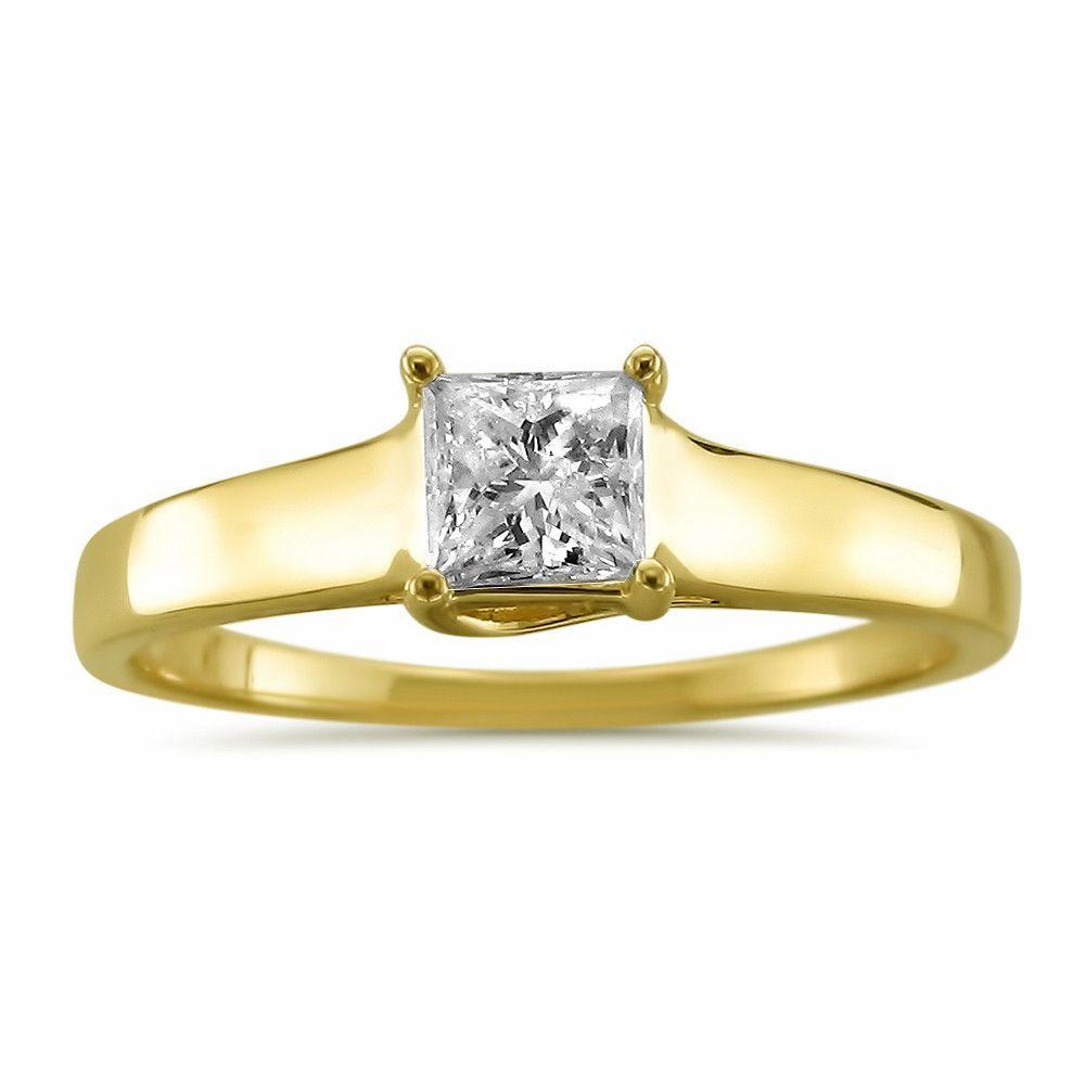 K yellow gold princesscut diamond solitaire engagement ring