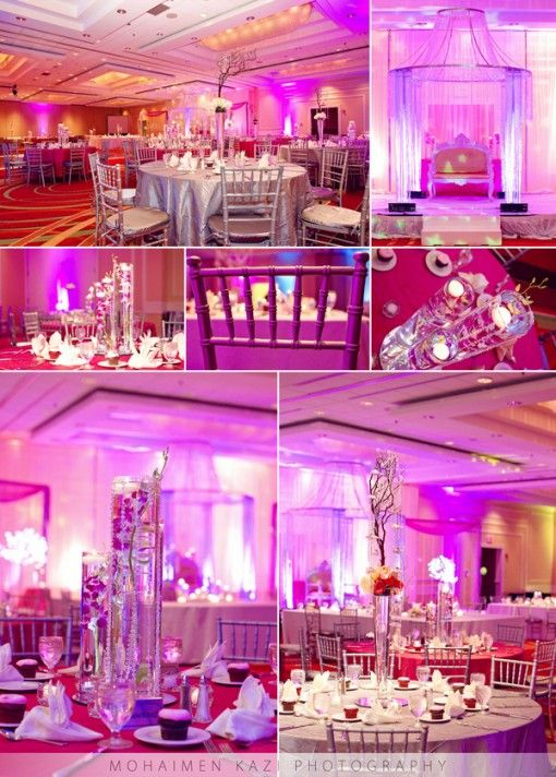 Pink And Silver Themed Ballroom South Asian Wedding Reception Via Indianweddingsite
