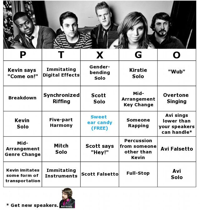 Introducing PTXGO: Pentatonix Arrangement Bingo! How to play: You