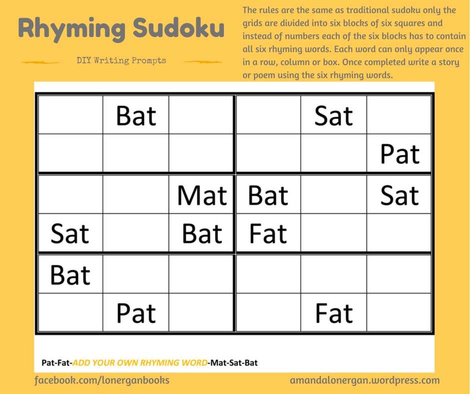 WRITING PROMPTS: We've all heard of Sudoku. Here's a fun way for children to get familiar with simple rhyming words and writing a funny poem.