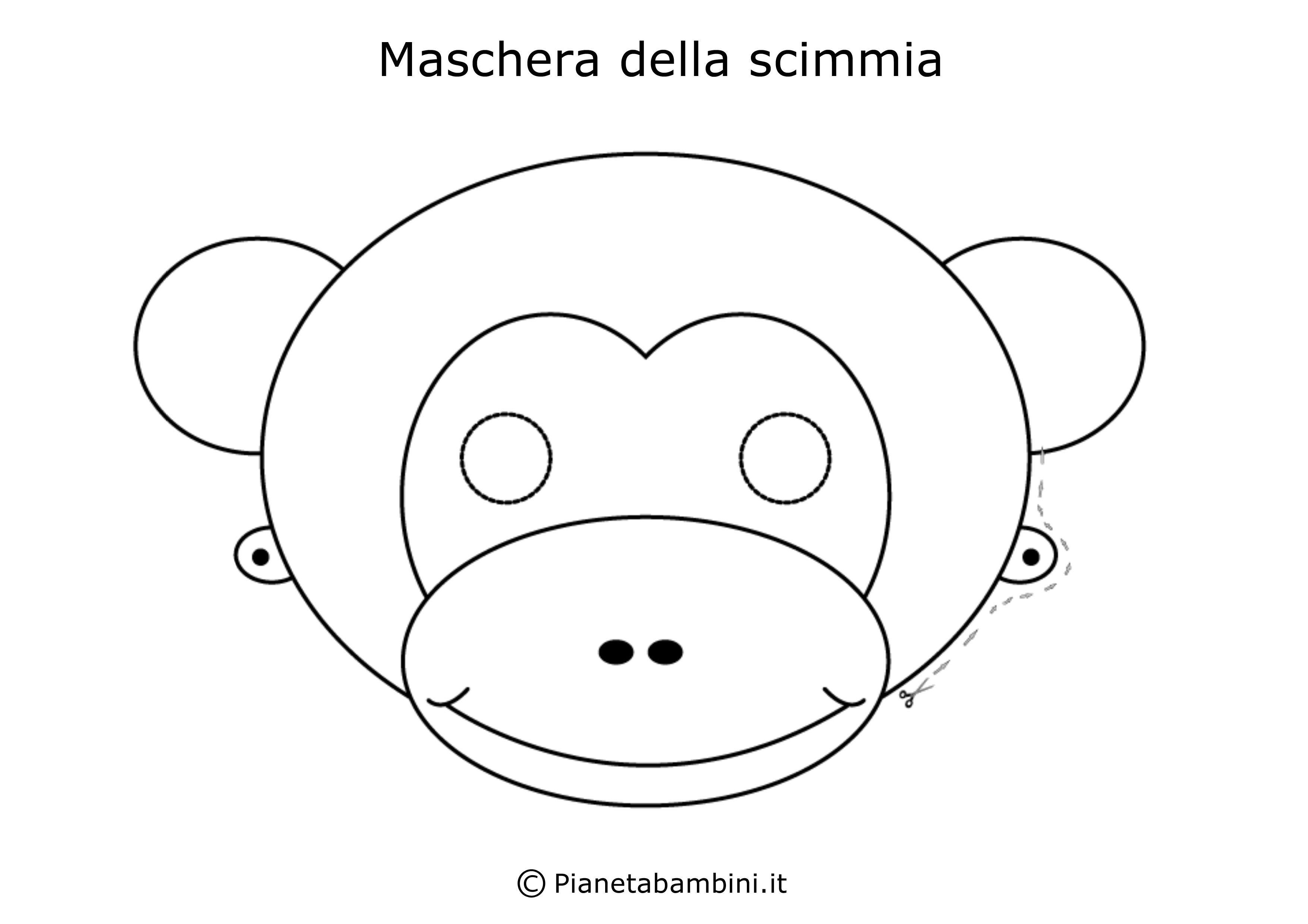 Maschera della scimmia da colorare e ritagliare - Scimmia faccia da colorare pagine da colorare ...